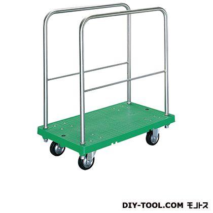 シシク 運搬台車 (プラスチック製、ハンドル長手両袖固定、プラスチックキャスター付) 荷台サイズ:460×750mm SI-SSGP