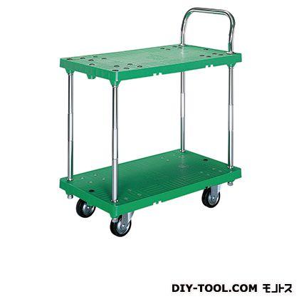 シシク 2段運搬台車 (プラスチック製、2段 ハンドル片袖固定、プラスチックキャスター付) 荷台サイズ:460×750mm SE-SSGP