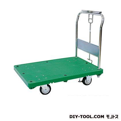 シシク ストッパー付運搬台車 (プラスチック製、ハンドル固定 ハンドストッパー付) 荷台サイズ:460×750mm SB-SSG-HS