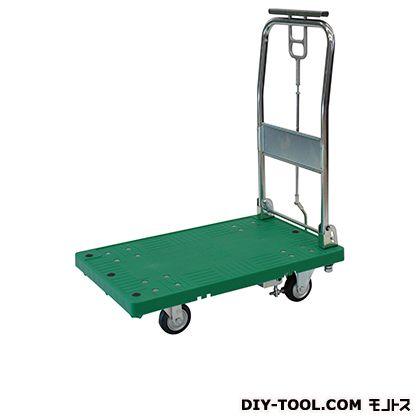 シシク ストッパー付運搬台車 (プラスチック製、ハンドル折りたたみ ハンドストッパー付、プラスチックキャスター付) 荷台サイズ:630×950mm MA-SMGP-HS