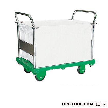 シシク キャンバスかご付運搬台車 (プラスチック製、ハンドル両袖固定 キャンバスかご付) 荷台サイズ:630×950mm MC-SMG-2
