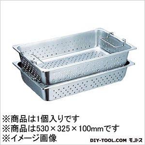 スギコ産業 ハンドル付穴明パン SUS304 1/1 530×325×100 SH1904GPH 1 枚