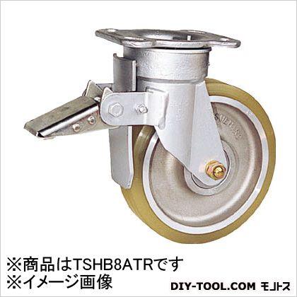 末廣車輌製作所 リボキャスターブレーキ付 ウレタン車輪 Φ200 (×1個)  TSHB8ATR