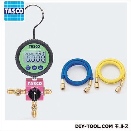 タスコ ボールバルブ式デジタルシングルゲージマニホールドキット(R410A、R32) (TA123DZ-2) テスター