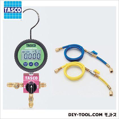 タスコ ボールバルブ式デジタルシングルゲージマニホールドバルブ付チャージホース仕様キット(R410A、R32) (TA123DVZ-1) テスター