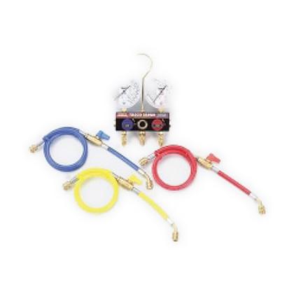 タスコ ボールバルブ式ゲージマニホールドバルブ付チャージホース仕様キット(R404A、R407C、R507A、R134a) (TA124KVH) テスター