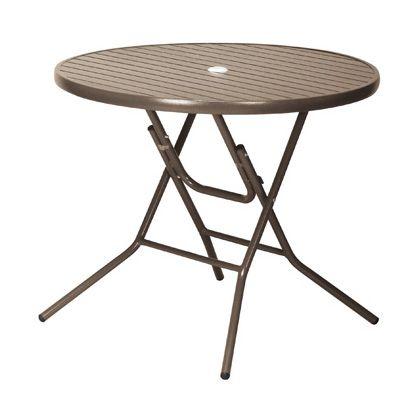 テラモト アルミフォールディングテーブル AL-F90RT ブラウン MZ6102020