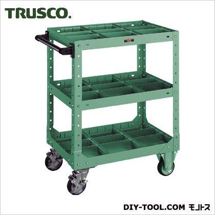 トラスコ(TRUSCO) SR型ワゴン600X400XH795仕切板付緑 GN SR-3P