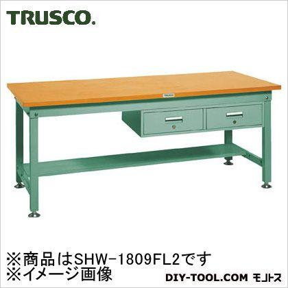 トラスコ 中量HW作業台鉄天板 引出2連 1800×900 SHW1809FL2
