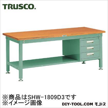 贈呈 ブランド激安セール会場 トラスコ TRUSCO SHW型作業台1800X900XH7403段引出付緑 SHW-1809D3 GN