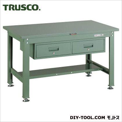 トラスコ 中量HW作業台鉄天板 引出2連 1200×750 SHW1200FL2