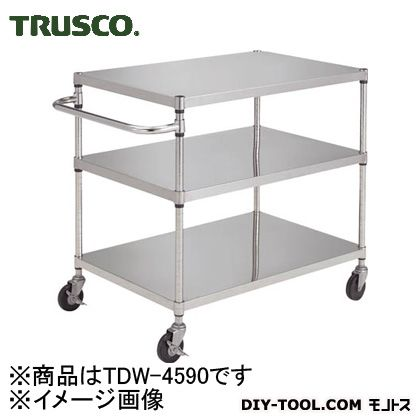 トラスコ 導電性ワゴン ナイロン車輪 900×450×900 直径100 TDW4590