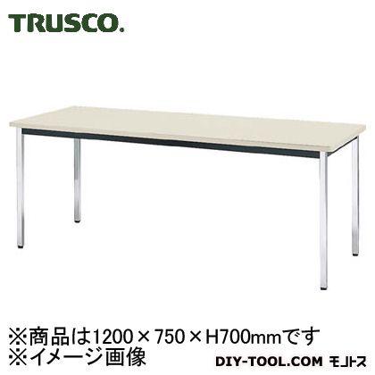 トラスコ 会議用テーブル棚無角脚 ニューグレー 1200×750×700 (TDS1275)