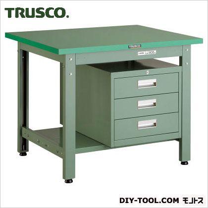 トラスコ(TRUSCO) ダップ樹脂天板中量作業台3段キャビネット付 900×750 GWP0975D3