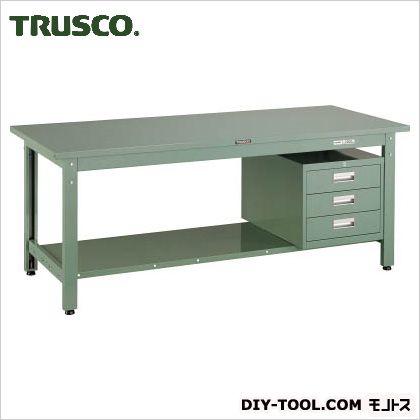 トラスコ(TRUSCO) スチール天板中量作業台3段キャビネット付 1800×750 GWS1875D3