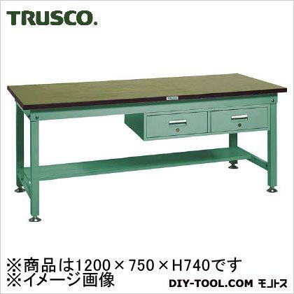 トラスコ 中量HW作業台リノ天板 引出2連 1200×750 RHW1200FL2