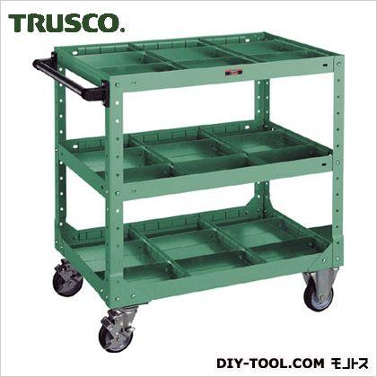 トラスコ ツールワゴン仕切板付 緑 750×500×795 NR3P