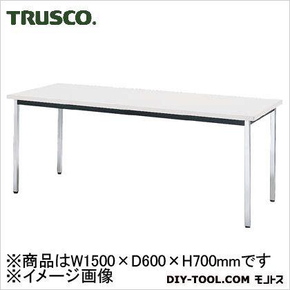 トラスコ 会議用テーブル 角脚 下棚無し ホワイト W1500mm×D600mm×H700mm TD-1560-W