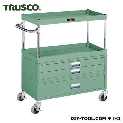トラスコ フレックスワゴン引出付2段 緑  750×500×880 FLW822VX