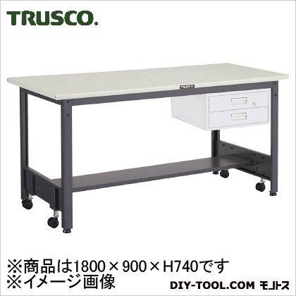 トラスコ 移動式作業台中量鉄天板 引出2段 1800×900 CFWS1890F2