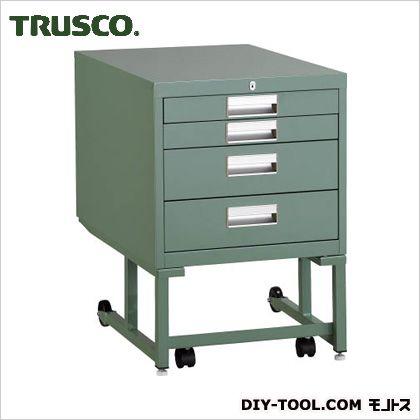 トラスコ(TRUSCO) BCD型作業台用ワゴン引出4段H660グリーン BCD-2D4