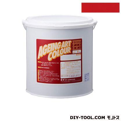 ターナー色彩 エイジングアートカラー 屋内外特殊塗装用水性塗料 低臭パーマネントレッド 4kg SJB04363