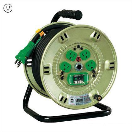 日動工業 100V漏電しゃ断器付(ブレーカー) 電工ドラム(コードリール)ポッキンプラグ付アース付 20M  NP-EB24