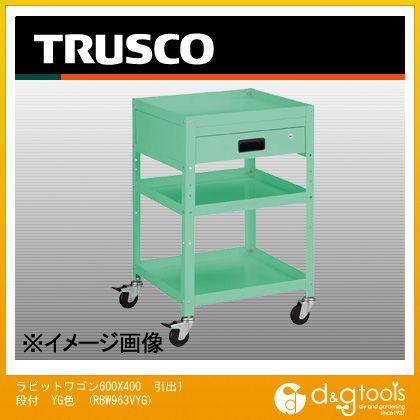 トラスコ(TRUSCO) ラビットワゴン600X400引出1段付YG色 RBW963VYG