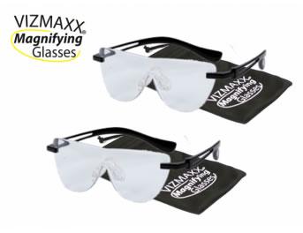 ビズマックス マグニファイン グラス 2個セット メガネ型ルーペ ポイント10倍♪ プレゼント付き♪ 細かな作業や読書に便利な拡大率1.6倍のハンズフリー拡大鏡ですe-chance イーチャンス 正規品