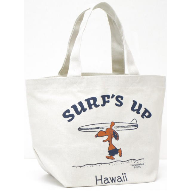 Moni Honolulu モニホノルル【ハワイ限定・Hawaii直輸入】【送料無料】日焼けスヌーピー ミニトートバックSURF'S UP×ナチュラル