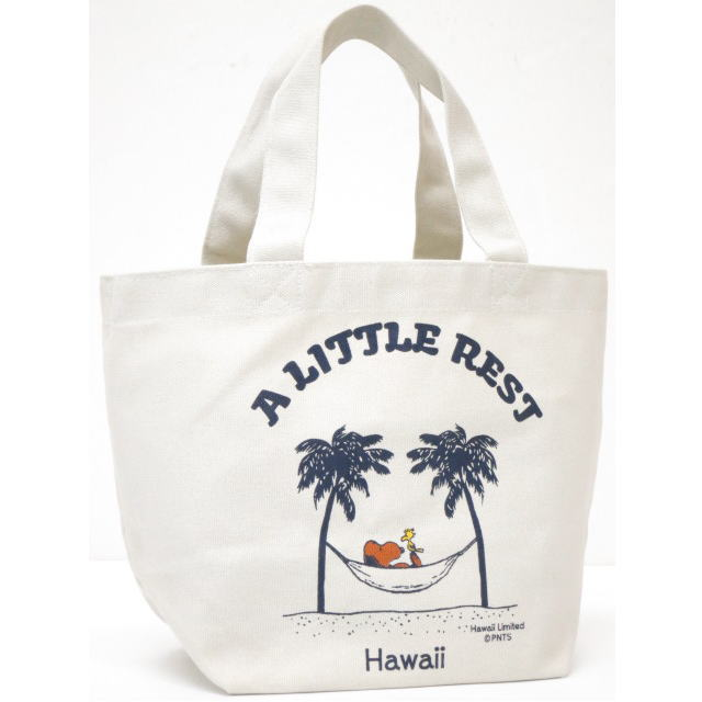 Moni Honolulu モニホノルル【ハワイ限定・Hawaii直輸入】【送料無料】日焼けスヌーピー ミニトートバックA LITTLE REST×ナチュラル