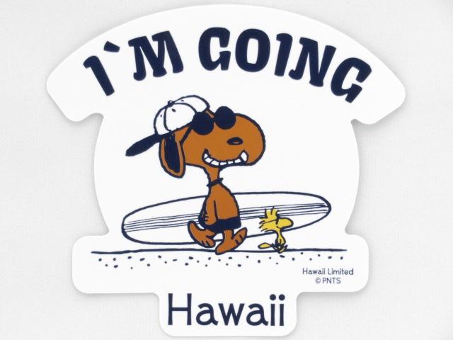Moni Honolulu モニホノルル【ハワイ限定・Hawaii直輸入】日焼けスヌーピー ステッカーホワイト I'M GOING