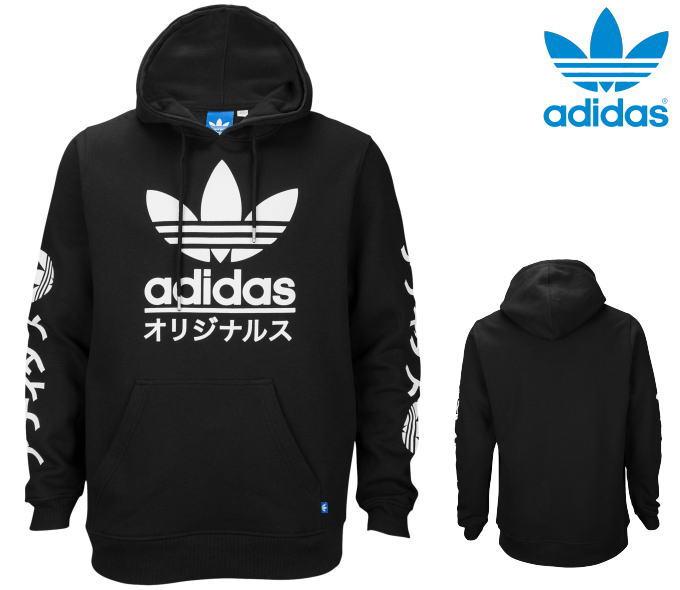 adidas Originals アディダス オリジナルス【パーカー】【プルオーバー】【USAモデル】【送料無料】【即日発送】ADIDAS ORIGINALS TOKYO FLEECE HOODIETREFOIL・Black/White・メンズ・ユニセックス・