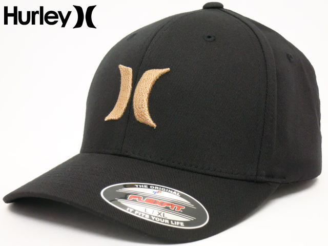 HURLEY(ハーレー)Hurleyキャップ【Hawaii直輸入】【即日発送】ONE&ONLY BW Flexfit Fitted CAPサイズ:L/XL・黒