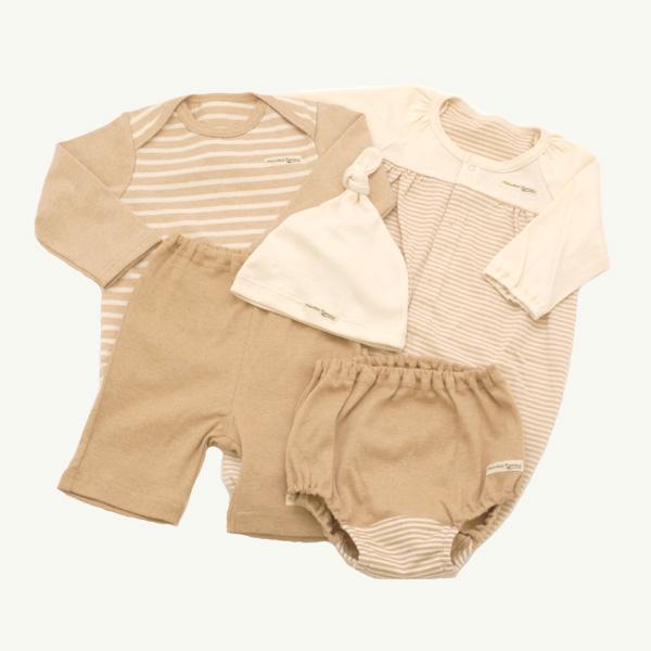 【TwinkleFunny Baby】オーガニックコットン ベビー服 出産祝い 12000円ギフトセット(カバーオール・長袖Tシャツ・ハーフパンツ・ブルマ・スタイor帽子) 5点セット・ラッピング代込・送料込:日本製