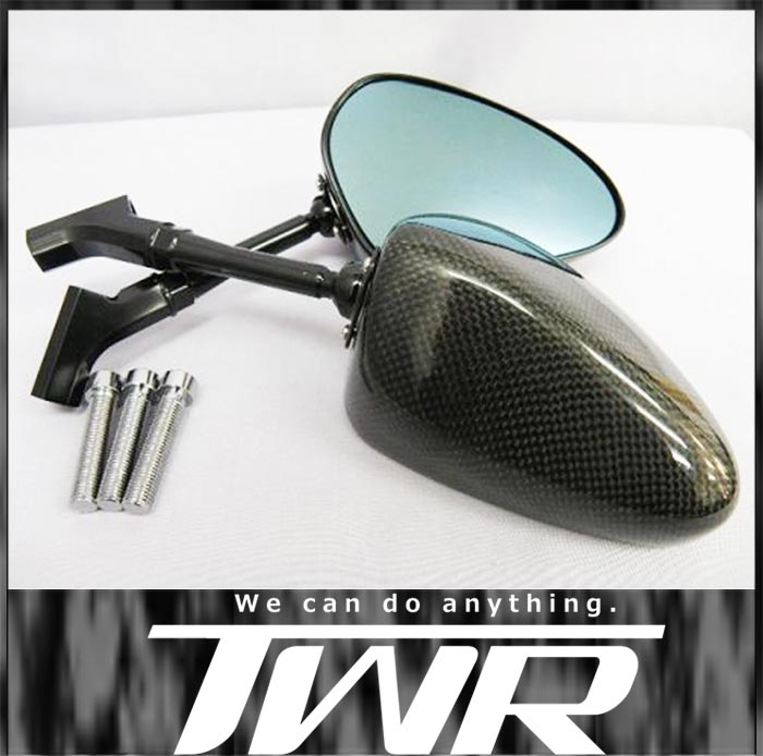 TWR製 (SIMOTA OEM生産) オートバイ用 カーボンミラー 100mmロングステム!オーバルカーボンミラー 大型バイク等 ホーネット250 アドレスV125S