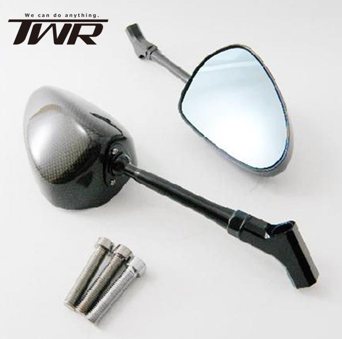 送料無料 TWR製 (SIMOTA OEM生産) カーボンミラー ロングステム カーボンミラー(135mmステム)ネイキッドバイクにお薦め!バイク用オーバルカーボンミラー!!