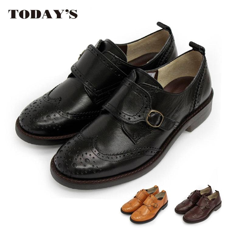 【 TODAY'S トゥデイズ 】【 送料無料 】【初回のみ交換無料】【 代引手数料無料 】【ラッキーシール対応】モンクストラップシューズ おじ靴 (5526)本革 日本製 ナチュラル かわいい ハートビート マニッシュシューズ レディース 革靴