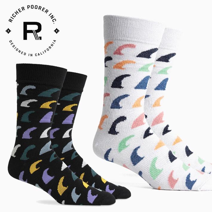 カリフォルニア LA発のソックスブランド Richerpoorer 靴下 くつした Fins Socks スケボー メンズ Seasonal Wrap入荷 ハイソックス サーフィン カジュアル リッチャープアラー ソックス 日時指定