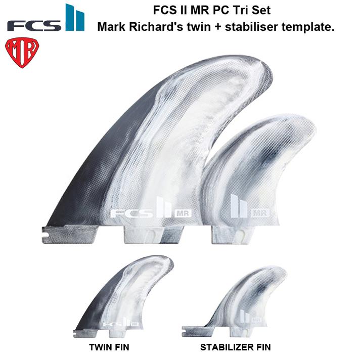 FCS2 フィンMR PC Tri Set MR's twin + stabiliser templateFCS2 フィン ツイン+スタビ送料無料