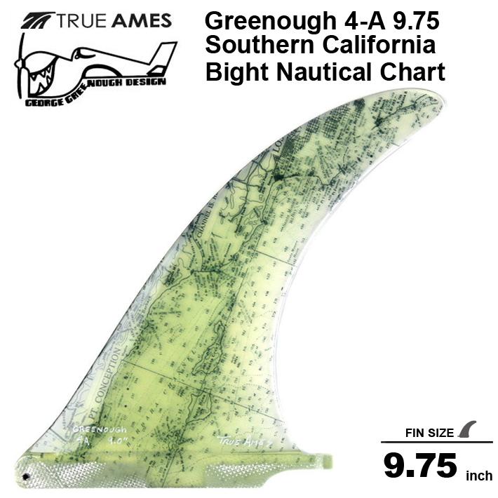 "True Ames グリノーフィン トゥルーアムス フィン【GEORGE GREENOUGH 4A 9.75"" Southern California Bight Nautical Chart】 日本未発売 LONGBOARDフィンシングルフィン送料無料!あす楽!"