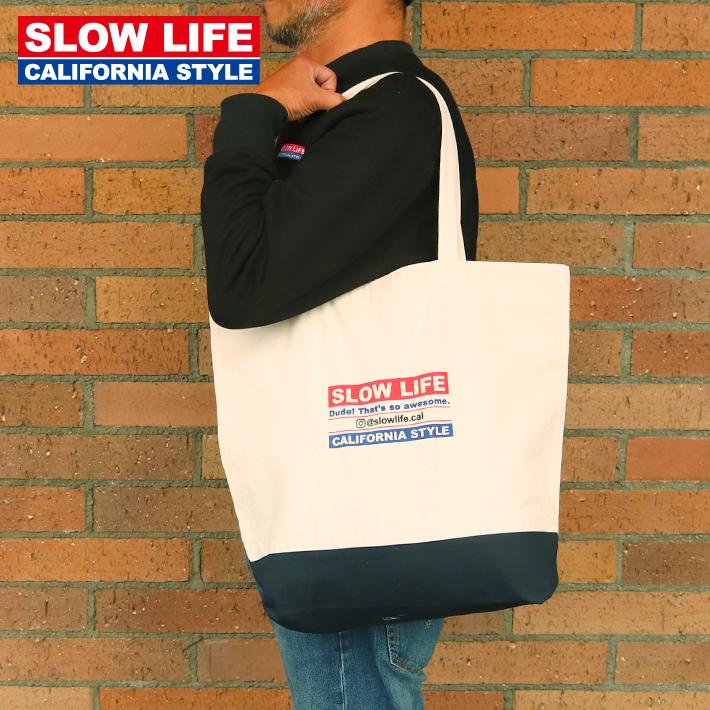 SLOW LIFE オリジナル トートバッグ 男女兼用 slowlife コットンバッグ エコバッグ 鞄 サーファー 最安値 サーフィン 日本製 バッグ ペアルック メンズ レディース サーフボード 保障