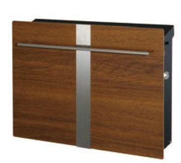 ノイエキューブ木目タイプ ライン(壁掛タイプ)チーク 高級感とおしゃれの両方を兼ね備えたスマートなデザインの玄関ポスト 鍵付きで安心♪