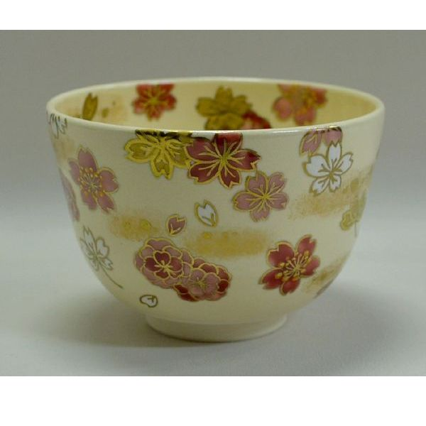 <茶道具・茶碗> 桜尽くしの絵茶碗・加藤永山作 桜がきれいな、春のお抹茶茶碗です。 お稽古 花見 陶器