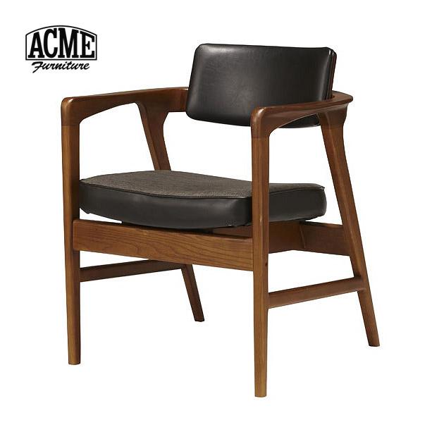 ダイニングチェア ダイニングチェアー 肘付き 肘掛け 黒 ブラック アームチェア 木製 レザー風 合皮 合成皮革 椅子 イス チェア おしゃれ 新生活 ミッドセンチュリー レトロ アクメファニチャー ACME Furniture WARNER ARM CHAIR BLACK ワーナー 送料無料