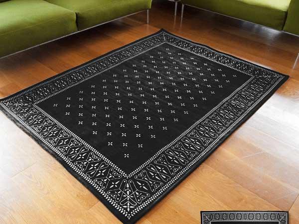 【送料無料】Cross Bandanna Rug Black クロス バンダナ ラグ ブラック L 200×140cm おしゃれ ホットカーペット 床暖房対応
