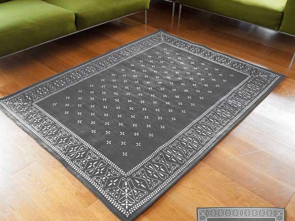 【送料無料】Cross Bandanna Rug Gray クロス バンダナ ラグ グレー L 200×140cm おしゃれ ホットカーペット 床暖房対応