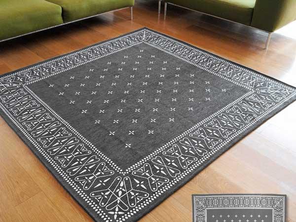 【送料無料】Cross Bandanna Rug Gray クロス バンダナ ラグ グレー LL 200×200cm おしゃれ ホットカーペット 床暖房対応