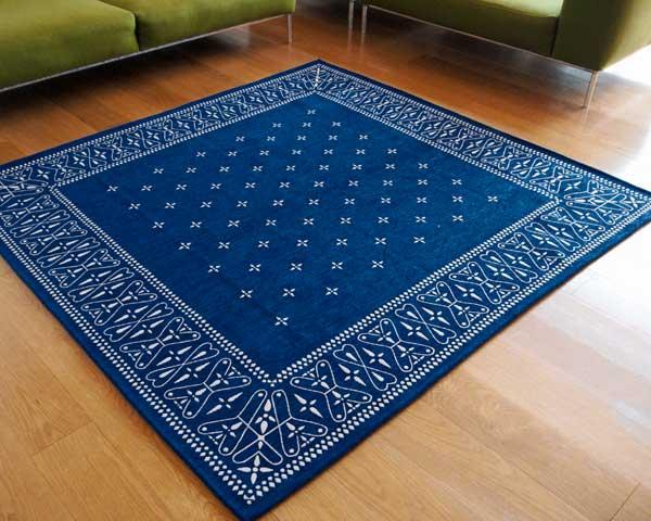 【送料無料】cross bandanna rug クロス バンダナ ラグ LL 200×200cm おしゃれ ホットカーペット 床暖房対応