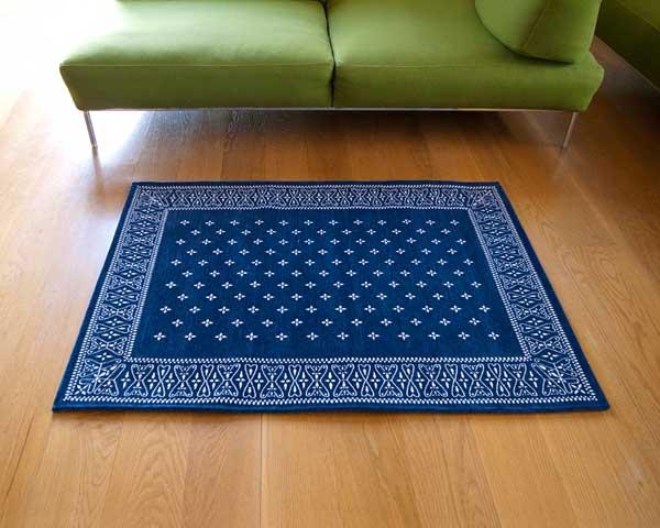 【送料無料】cross bandanna rug クロス バンダナ ラグ M 140×100cm おしゃれ ホットカーペット 床暖房対応